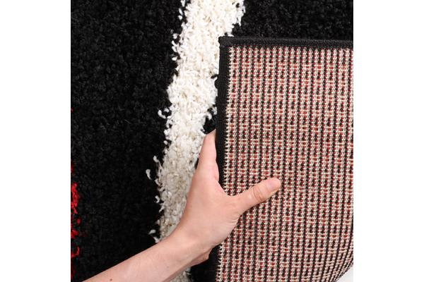 Urban Curves Shag Rug Black Red 150x80cm
