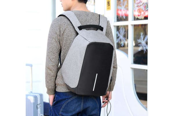 Lenoxx Anti-Theft Backpack with USB Charging Port - Grey