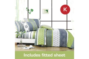 King Size Dexter Design Cotton Quilt Cover + Fitted Sheet