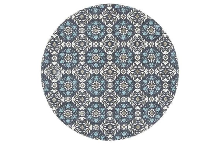 Blue Hand Braided Cotton Florale Flat Woven Rug - 150X150CM