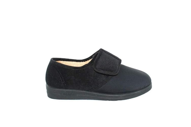 Comfylux Womens/Ladies Stella Superwide Slippers (Black) (6 UK)