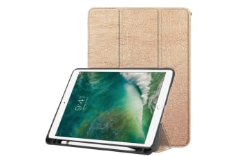 For iPad Air 3 (2019) Case Karst Texture PU Leather Folio Cover Pen Slot Gold