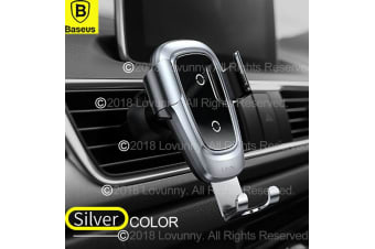 Baseus Qi Wireless Charger Car Air Vent Mount Phone Holder iPhone Samsung Huawei-Silver