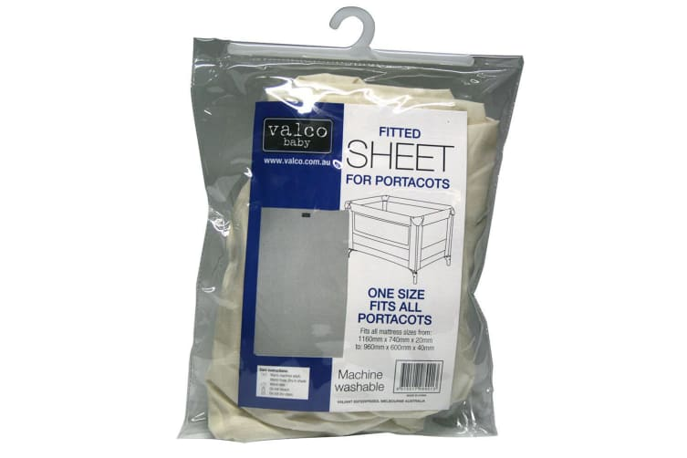 Valco Baby White 116x74cm Cotton/Washable Fitted Sheet f/ Portacots/Cot Mattress