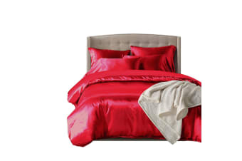 DreamZ 1000TC Silk Satin Duvet Cover Set in Single Size in Burgundy Colour  -  BurgundySingle