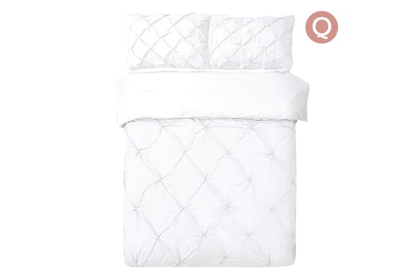 Giselle Bedding Diamond Stitch Quilt Cover Set (Queen/White)