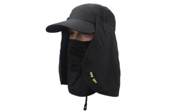 Outdoor Sun Protection Removable Neck&Face Flap Cover Hats Black