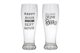2pc Giftworks 550ml Beer Drink Drinking Glass Barware - Happy Hour & Save Water