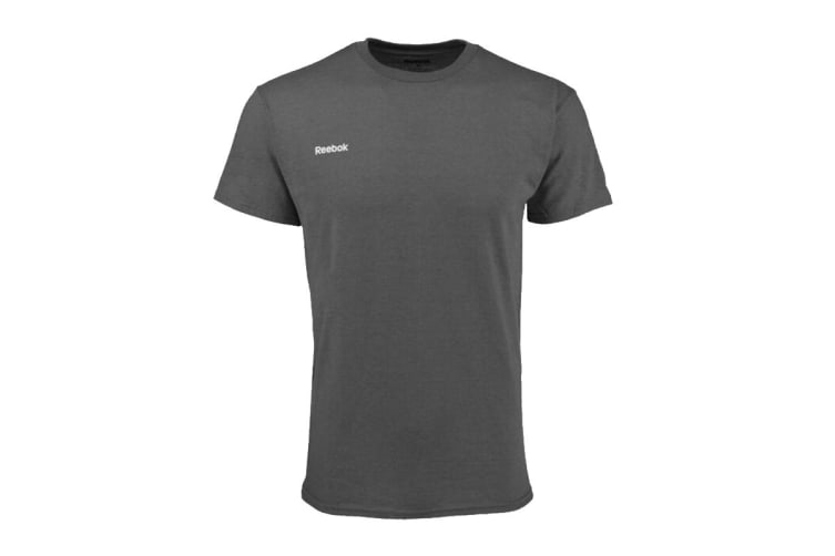 Reebok Men's Heathered T-Shirt (Charcoal Heather, Size L)