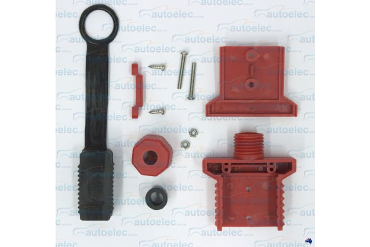 TRAILER VISION RED 50A AMP ANDERSON PLUG COVER CARAVAN COVER ASSEMBLY +DUST CAP