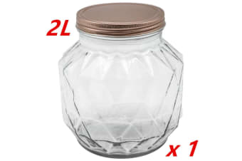 1 x VINTAGE GLASS CANISTER 2000ML ROSE GOLD LID Food Storage Cookie Kitchen Jars 2L