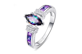 925 Sterling Silver Created Mystic Rainbow Topaz Ring for Women 10