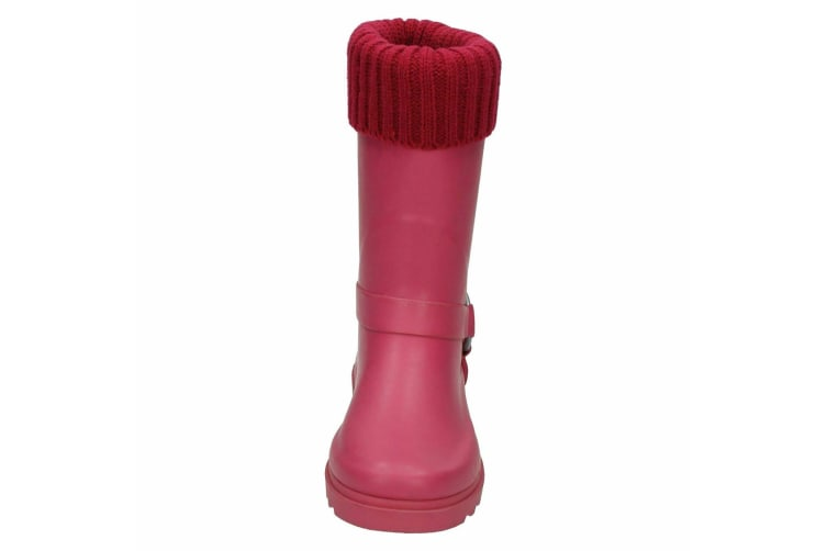 Spot On Childrens Girls Rubber Turn Collar Wellington Boots With Ring Strap Detail (Fuchsia) (10 Child UK)