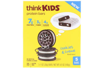 ThinkThin, ThinkKids, Protein Bars, Cookies and Creme, 5 Bars, 1 oz (28 g) Each