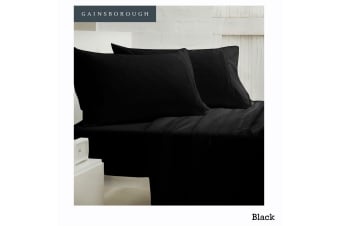 250tc Polyester Cotton Sheet Set Black King Single