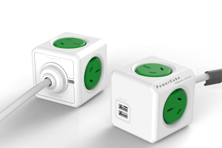Allocacoc PowerCube 1.5m with 4 Power Outlets & 2 USB - Green (5400AUEUPCGRN)