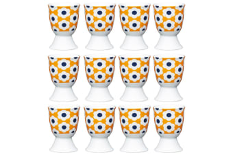 12pc KitchenCraft Retro Flower Spot Boiled Egg Cup Holder Stand Tableware