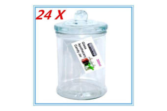 24 x Glass Apothecary Candy Jar with Lid for Candy & Candle Waxing 330ml FREE D