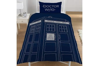 Doctor Who Classic Single Duvet Set (Blue) (One Size)
