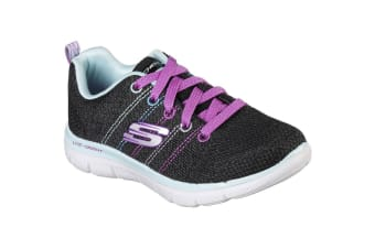 Skechers Childrens Girls Skech Appeal 2.0 High Energy Lace-Up Trainers (Black/Multi) (12 Child UK)