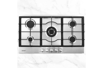 Devanti Gas Cooktop 90cm 5 Burner Kitchen Stove Cooker NG/LPG Stainless Steel