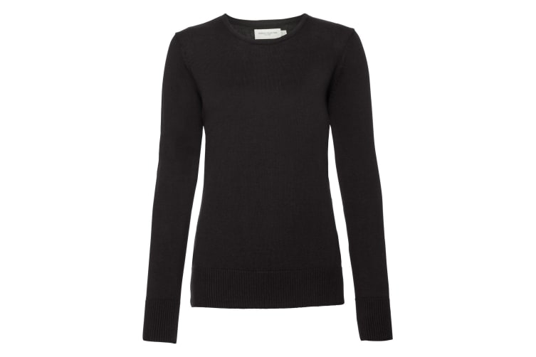 Russell Womens/Ladies Cotton Acrylic Crew Neck Sweater (Black) (L)
