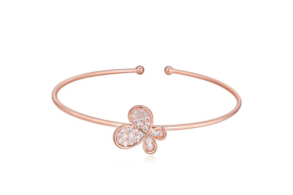 Wings Of Glamour Cuff Bangle-Rose Gold/Clear