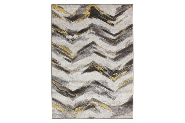 Ella Chevron Modern Rug Grey Yellow 330x240cm