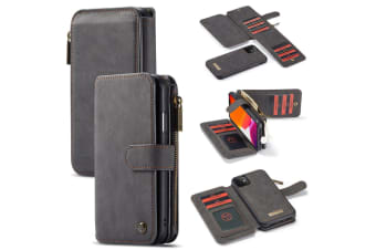 For iPhone 11 Case  Wallet PU Leather Detachable Flip Cover  Black