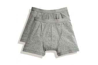 Fruit Of The Loom Mens Classic Boxer Shorts (Pack Of 2) (Light Grey Marl) (M)