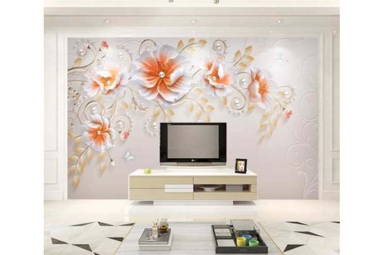 3D Orange Flowers 188 Wall Murals Self-adhesive Vinyl, XL 208cm x 146cm (WxH)(82''x58'')