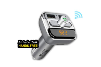 Sensai Bluetooth Car Kit Dual Port Hands Free Drive n Talk FM Transmitter w/ Mic