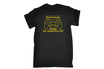 123T Funny Tee - Id Probably Pause My Game For You - (Small Black Mens T Shirt)