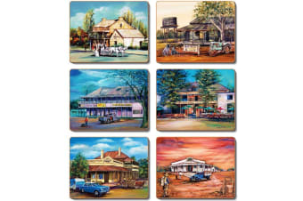 Cinnamon Coasters Cork Backed -old Hotels