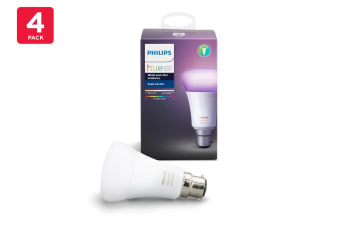 Philips Hue White and Colour Ambiance Single Bulb B22 (4 Pack)