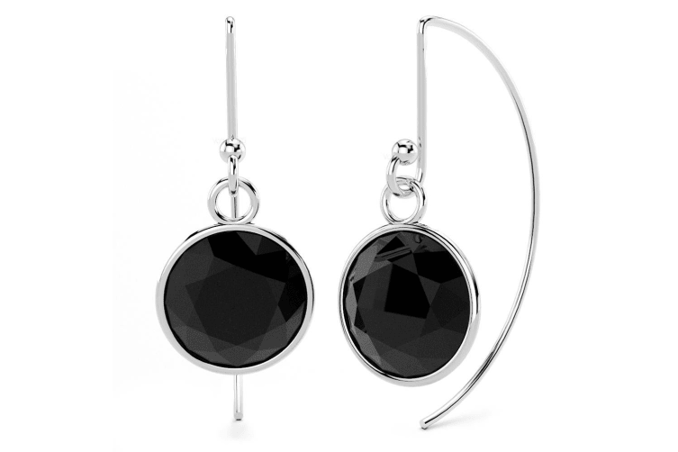 .925 Bezel Cz Drop Earrings 9mm-Silver/Black