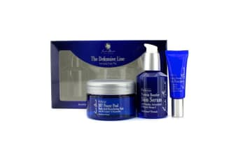 Jack Black The Defensive Line Anti-Aging Triple Play: Protein Booster Eye Resuce + DIY Power Peel Multi-Acid Resurfacing Pads + Protein Booster Skin Serum 3pcs