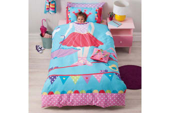 Cubby House Reversible Tabitha Tightrope Quilt Cover Set Double