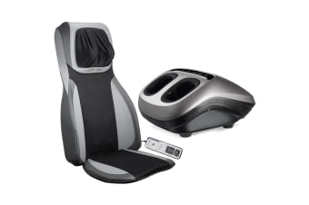 Electric Full Body Massager Massage Chair Cushion Grey & Foot Massager With Heat 2 Pcs