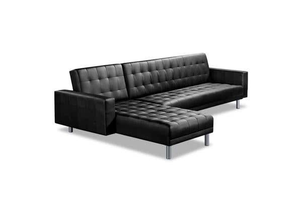 Artiss PU Leather 4 Seater Sofa Bed (Black)
