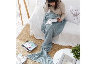 Knitted Mermaid Tail Blanket Super Soft Sleeping Bag BlueGray