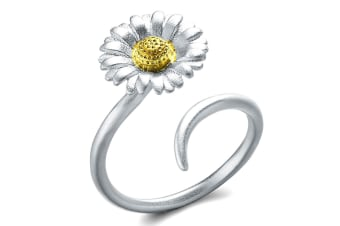 .925 Floral Bloom Ring-Dual Tone Adjustable Size
