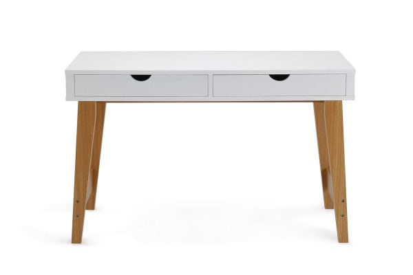 Scandinavian Desk ovela 2 drawer desk - finse collection (white) - kogan
