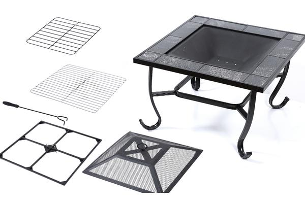 "New 30"" 3in1 Garden Steel Fire Pit Brazier Square With Tile Table BBQ Outdoor Event"