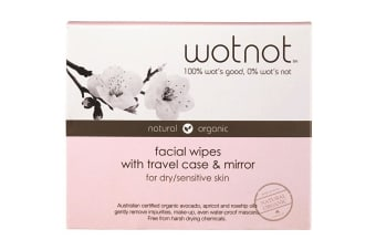 Wotnot Facial Wipes Dry Sensitive Skin x25 Pack Travel Case