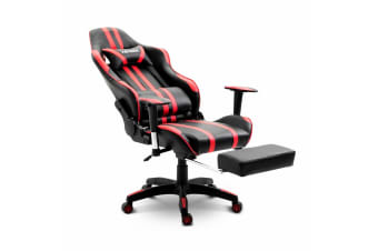 PU Leather Gaming Chair Adjustable Swivel Office Racing Seat - Red and Black