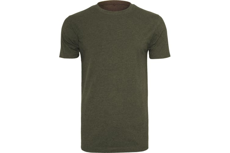 Build Your Brand Mens T-Shirt Round Neck (Olive) (L)