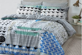 Style & Co 100 % Cotton Reversible Quilt Cover Set (Single, Sassy)