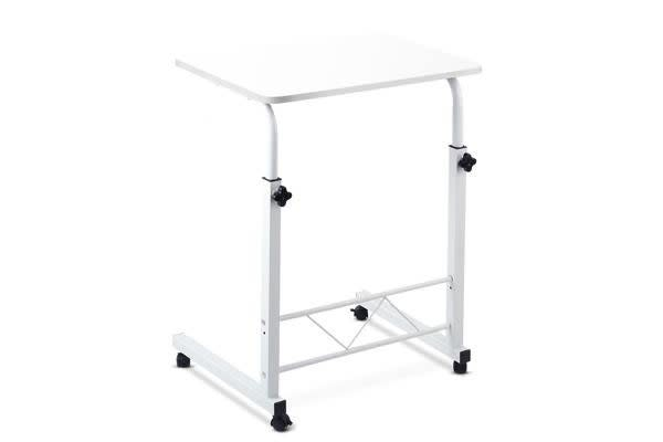 Portable Adjustable Wooden Latpop Stand (White)