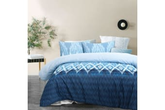 Luca Blue Quilt Cover Set Queen